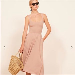 NWT Reformation Rou Dreas Blush Midi Bodice Dress